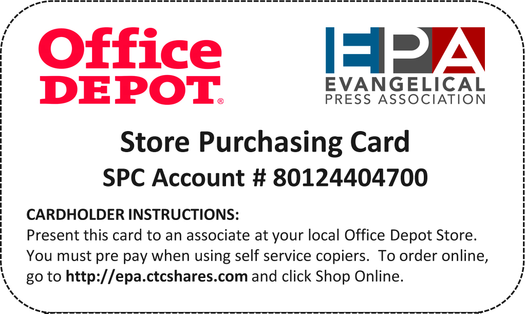 Member Benefit  Office Depot Discount Card  Evangelical Press